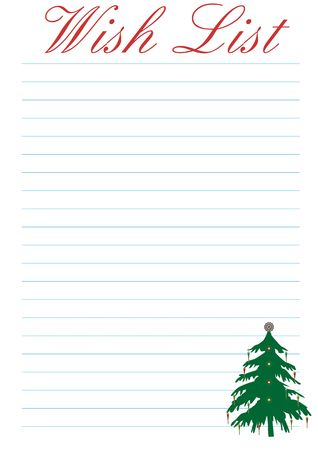 a wish list decorated with a christmas tree - background Stock Photo - 2146139
