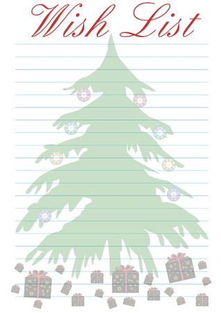 a wish list decorated with a christmas tree - background Stock Photo - 2146132