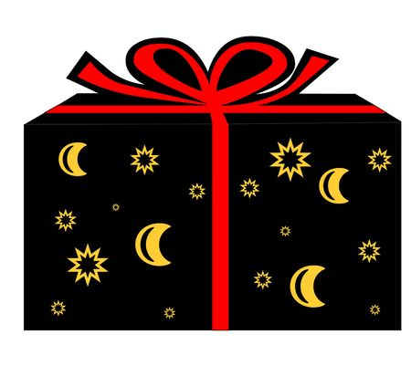 a wrapped present with a red ribbon - christmas, birthday Stock Photo - 2165624