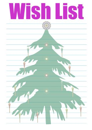 a wish list decorated with a christmas tree - background Stock Photo - 2165622