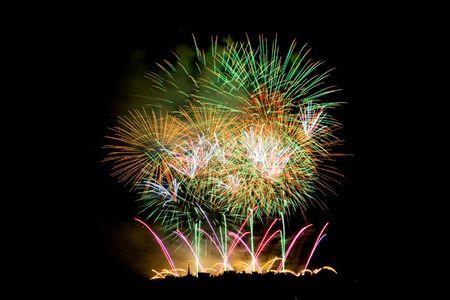 Fireworks Lighting up the Black Night Sky Stock Photo