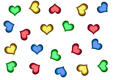 a lot of colourful hearts on the white background photo