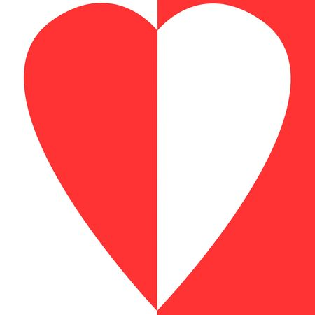 bisected: bisected red and white heart on bisected white and red background  Stock Photo