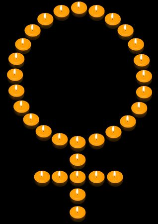 candlelit: a group of burning candles forming a fiery woman symbol