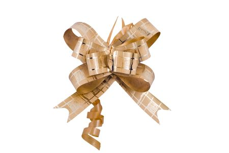 a golden ribbon  isolated on the white background
