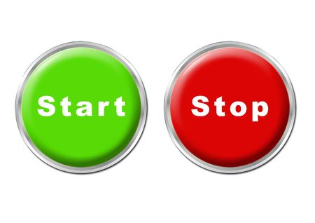 set of a green start button and a red stop button Stock Photo