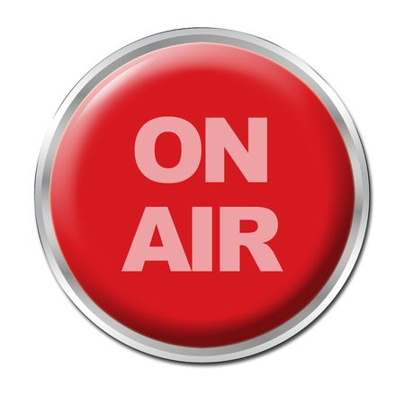 a round red button with a warning ON AIR Stock Photo