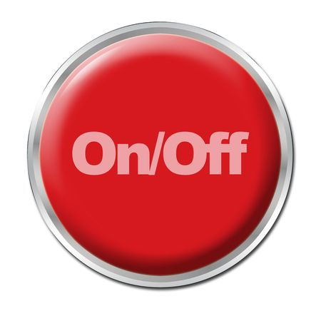 begin: Red round button with the symbol OnOff Stock Photo