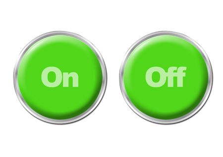 Two green round buttons with the symbols On and Off Stock Photo