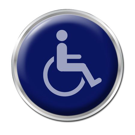 blue round button with the symbol for disabled