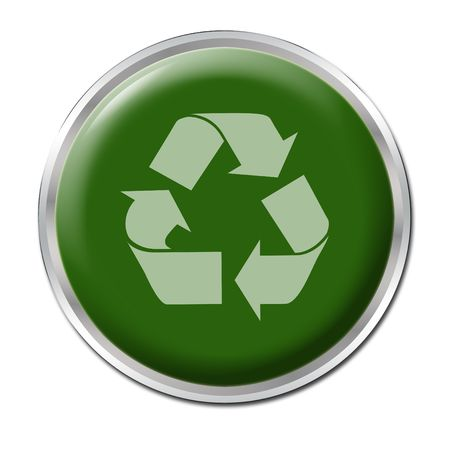 Green button with the symbol for recycling photo