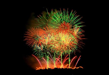 Fireworks Lighting up the Black Night Sky photo