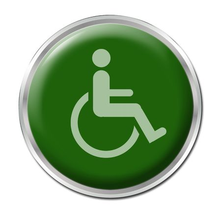 reserved seat: green round button with the symbol for disabled