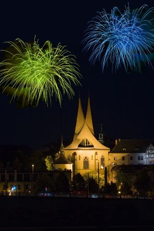 monastery Emauzy (Emmaus)  in Prague with fireworks by night
