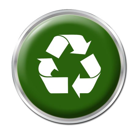 Green button with the symbol for recycling Stock Photo - 3303855