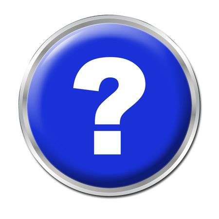 blue round button with the question mark symbol Stock Photo
