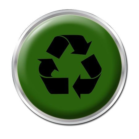 Green button with the symbol for recycling Stock Photo - 3339458