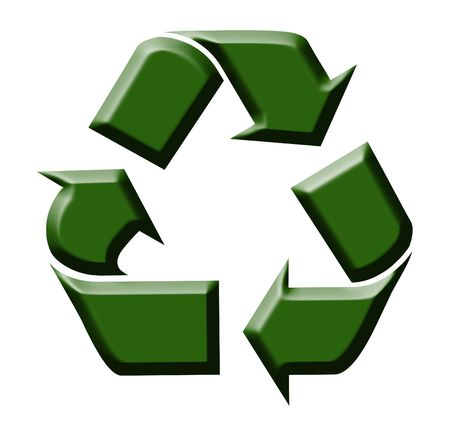biodegradable: Green symbol for recycling on the white background