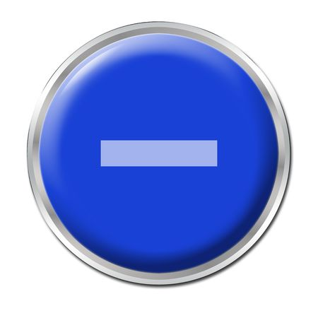 subtract: a round blue button with a symbol minus Stock Photo