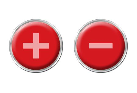 two round red controls on the white background photo