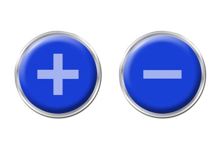 two round blue controls on the white background photo