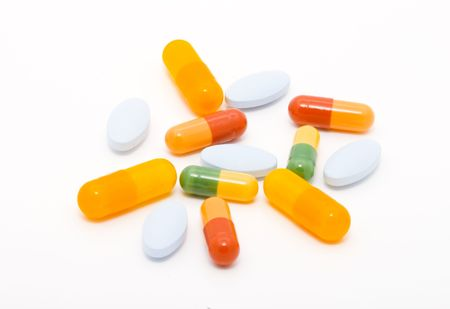 a lot of various kinds of drugs in different colours Stock Photo