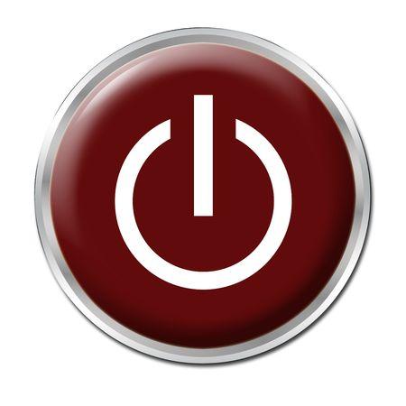 Bot�n rojo con el s�mbolo de encendido / apagado Foto de archivo - 3400717