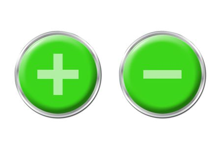 two round green controls on the white background photo