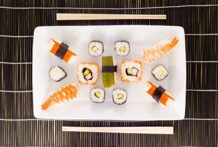 soja: a plate with different kinds of sushi