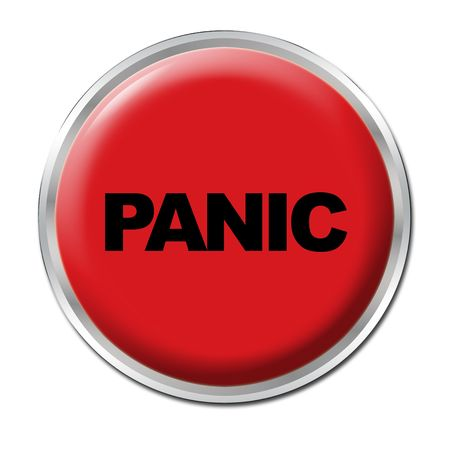 Red round button with the word Panic Stock Photo - 3410242