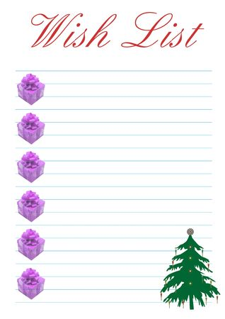 a wish list decorated with a christmas tree - background Stock Photo - 3425956