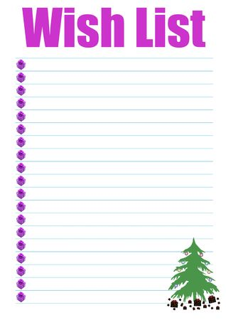 a wish list decorated with presents and a christmas tree photo