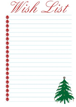 a wish list decorated with a christmas tree - background Stock Photo - 3439691