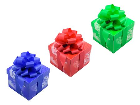 a group of three presents with ribbons