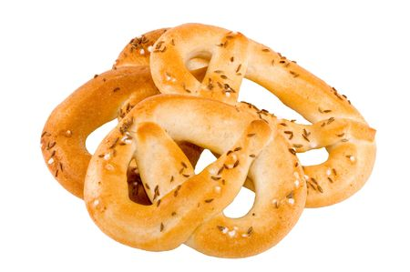 a pile of salty crunchy pretzel on the white background