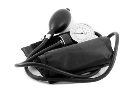 manual test equipment: A common clinical  sphygmomanometer or tonometer - close up Stock Photo