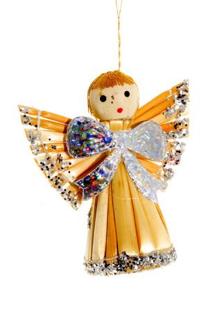 a straw christmas ornament - seasonal decoration - close up
