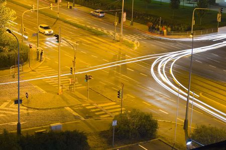 night traffic on a crossroad in the city of Prague Stock Photo