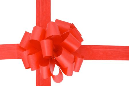 a red ribbon  isolated on the white background photo