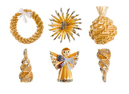 a set of straw christmas ornaments - seasonal decoration