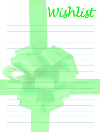 wish list: a wish list decorated with a green ribbon - background Stock Photo