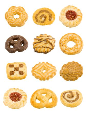 a group of different sweet teacakes on the white background photo