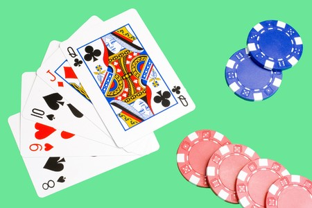 consecutive: straight - five consecutive cards; together with some chips Editorial