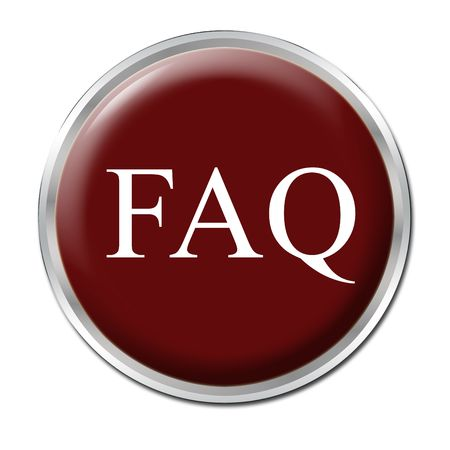 isolated round button with the abbreviation FAQ - white background