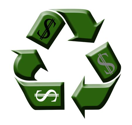 Green symbol for recycling on the white background Stock Photo - 4772552