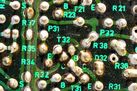 a very old and dusty printed circuit - close up Stock Photo - 4801872