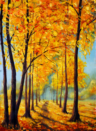 oil park: Original oil painting beautiful autumn park on canvas. Autumn harmony.