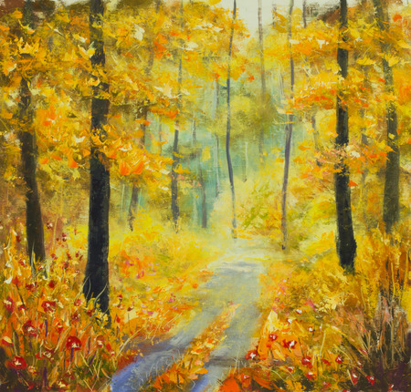 street painting: Original oil painting sunny forest landscape, beautiful solar road in the woods on canvas. Road in the autumn forest. Palette knife artwork. Impressionism. Art.
