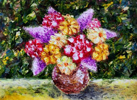 sch�ne blumen: Vase Blumen. Original-�lgem�lde von sch�nen Blumen auf Leinwand. Moderne Impressionismus. Lizenzfreie Bilder