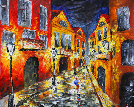 street painting: Original oil painting of night city, beautiful yellow building on canvas. Lonely rainy night street. Modern Impressionism.